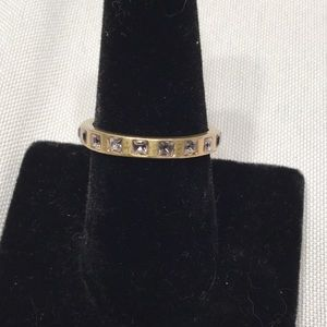 Lia Sophia Gold Ring sz9 set with sm clear stones